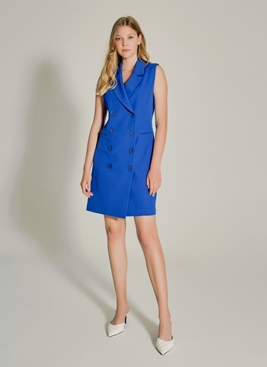NGSTYLE Çift Düğmeli Blazer Elbise Saks